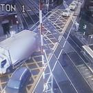 Truck stuck at a railway junction in Sutton. Credit: Irish Rail
