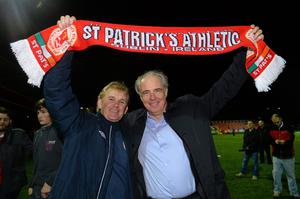 St Patrick's Athletic chairman Garrett Kelleher (right) with former manager Liam Buckley. David Maher / SPORTSFILE