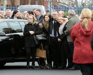 14 March 2017;  General view of family and mourners before the funeral of Karl Robertson. St. Luke the Evangelist Church, Kilmore West, Coolock, Dublin. Picture: Caroline Quinn