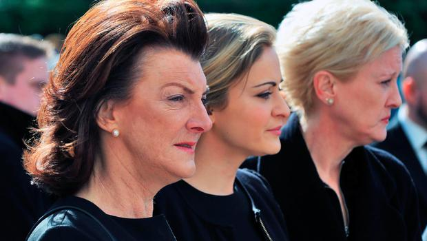 Eimear Mulhern with other family members at the funeral of her mother Maureen Haughey Photo: Colin Keegan