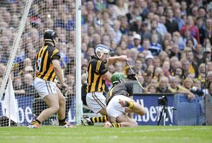 Kilkenny's TJ Reid, centre, and Eoin Murphy save a penalty from Tipperary's John O'Dwyer in the All-Ireland final