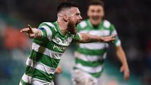 3 March 2017; Brandon Miele of Shamrock Rovers celebrates after scoring his side's first goal during the SSE Airtricity League Premier Division match between Shamrock Rovers and Bohemians at Tallaght Stadium in Dublin. Photo by Seb Daly/Sportsfile