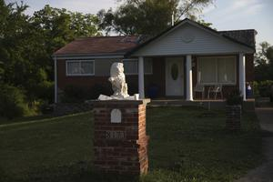 A home in Kinloch, Missouri, where authorities say Huey was killed (Laurie Skrivan/St. Louis Post-Dispatch via AP)