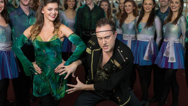 Emma Warren lead dancer with Riverdance has some fun with Mario Rosenstock as Michael Flatley at Haven's charity event. Photo:Mark Condren