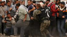 Police try to maintain order in Macedonia.