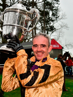 Ruby Walsh with the Thyestes Handicap after winning the Goffs Thyestes Handicap Steeplechase with Invitation Only at Gowran Park. Photo: Matt Browne/Sportsfile