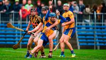 Shane O'Donnell of Clare in action against Evan Cody, left, and Conor O'Shea of Kilkenny during the Allianz Hurling League Division 1A Round 2 match between Clare and Kilkenny at Cusack Park in Ennis. Photo by Diarmuid Greene/Sportsfile