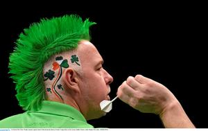 26 March 2015; Peter Wright competes against James Wade during the Betway Premier League Darts at the 3Arena, Dublin. Picture credit: Stephen McCarthy / SPORTSFILE