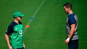 Ireland's head coach Joe Schmidt (l) and fly-half Jonathan Sexton take part in a training session ahead of the Rugby World Cup Pool A clash with Russia. Photo: Filippo Monteforte/ Getty Images