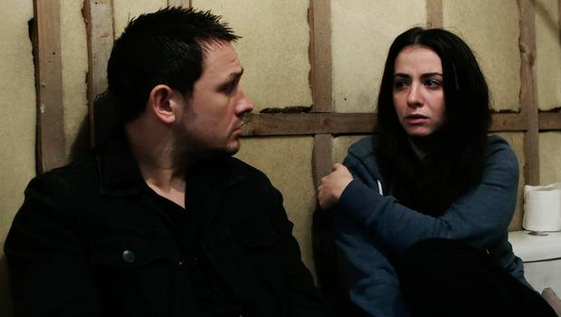 Ciaran, played by Johnny Ward with Katy, played by Amilia Clarke-Stewart in a Fair City scene