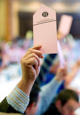 Whether delegates are casting their vote by hand or through the new electronic system, Congress is not fit for purpose because of the requirement that motions must receive a two-thirds majority to be successful