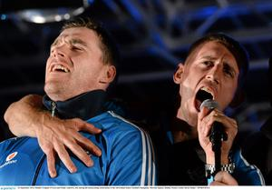 Dublin's Eoghan O'Gara and Paddy Andrews, left, during the homecoming celebrations of the All-Ireland Senior Football Champions. Merrion Square, Dublin.