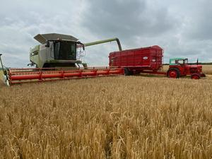 Old and New  Padge Howard Farmer from Bellewstown with his Claas rig on his Winter barley Farm   Pic Seamus Farrelly