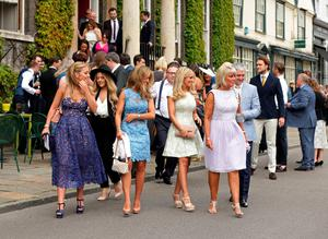 Guests, make their way to St Mary's Church in Bury St Edmunds, Suffolk, for the wedding of former Coronation Street actress Michelle Keegan to The Only Way Is Essex star Mark Wright.  Yui Mok/PA Wire