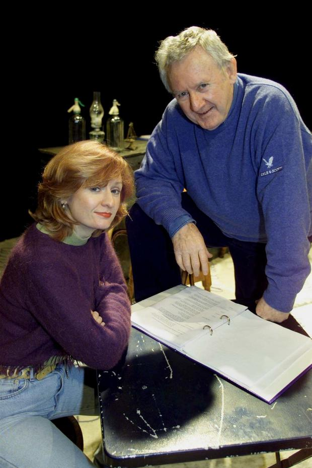 Family portrait: Niall Tóibín and daughter Sighle pictured during rehearsals for a production of 'Behan Himself' in Dublin in 2001. Photo: Colin O'Riordan