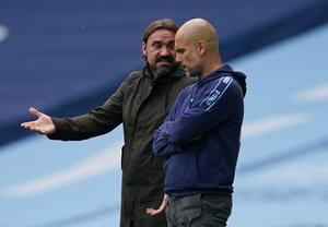 Manchester City manager Pep Guardiola with Norwich City manager Daniel Farke. Photo: Reuters