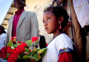 Pictured is a little girl from the Damayno School patiently awaiting the arrivial of President Michael D Higgins and his wife Sabina on a visit to the School in Tigray, Ethiopia on the sixth day of the Presidents 22 day official visit to Ethiopia, Malawi and South Africa.Photo Chris Bellew /  Fennell Photography 2014