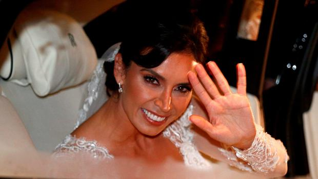 British TV personality Christine Bleakley arrives at a church in London, Britain, December 20, 2015, as she prepares to marry former Chelsea and England soccer player, Frank Lampard