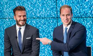 LONDON, ENGLAND - JUNE 09:  Prince William, Duke of Cambridge points at David Beckham as the Duke of Cambridge launches United for Wildlife campaign at Google Town Hall on June 9, 2014 in London, England.  (Photo by Samir Hussein/WireImage)