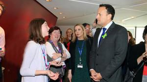 Linking up: Taoiseach Leo Varadkar and Aoibheann Mangan, from Hollymount, discuss rural broadband at the sci-tech and arts festival Inspirefest in the Bord Gais Energy Theatre. Photo: Frank McGrath
