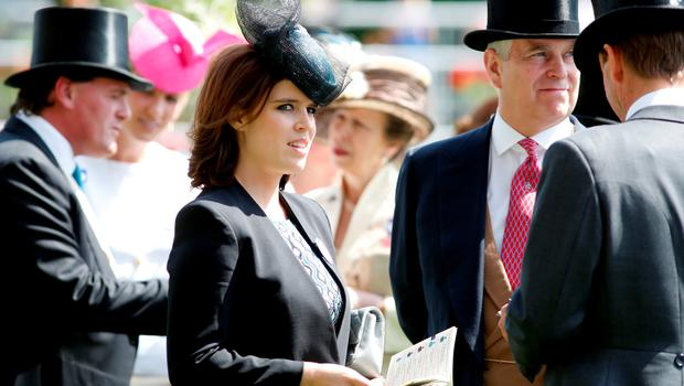 ASCOT, ENGLAND - JUNE 18:  Princess Eugenie of York and Prince Andrew, Duke of York during day 3 of  Royal Ascot 2015 at Ascot racecourse on June 18, 2015 in Ascot, England.  (Photo by Tristan Fewings/Getty Images for Ascot Racecourse)
