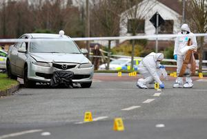 Gardaí gather evidence near where the car was found Photo: Frank McGrath