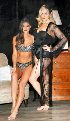 Louise O'Reilly and Lynn Kelly at the Arnotts Autumn Winter 2014 Lingerie Collections in their Henry St Store. Picture: Kieran Harnett