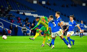 West Bromwich Albion's scores his side's first goal of the game during the Premier League match at the AMEX Stadium, Brighton.