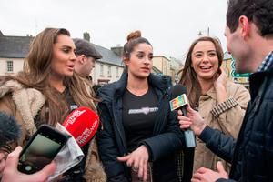 Babestation's Vicky Narni, Priya Young and Alexa Brooke chat with media on arrival in Westport, Co.Mayo to apologise for phone mix-up. Pic: Michael Mc laughlin