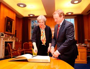 Prime Minister Theresa May and Taoiseach Enda Kenny TD during their meeting at Government Buildings in Dublin. Photo: Chris Bellew/Fennell Photography/PA Wire
