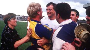 Clare manager John Maughan celebrates with Clare player Frankie Griffin and supporters after their Munster SFC final victory over Kerry at the Gaelic Grounds on July 19, 1992. Photo: Ray McManus/Sportsfile