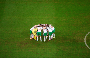 The Republic of Ireland team huddle before the match against Italy and Republic of Ireland at Stade Pierre-Mauroy in Lille, France. Photo by Ray McManus / Sportsfile