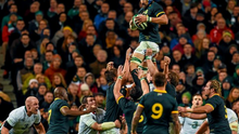 Victor Matfield takes possession of the ball from a lineout against Ireland