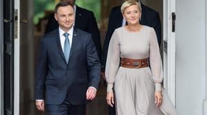 (L) President of Poland Andrzej Duda and the first Lady Agata Kornhauser-Duda   during an official visit by the Duke And Duchess Of Cambridge on July 17, 2017 in Warsaw, Poland. (Photo by Adam Nurkiewicz/Getty Images)