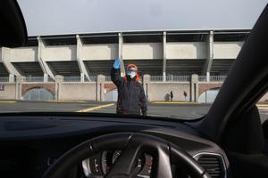 Stop: Scenes at Tallaght Stadium which is being used as a testing centre for Covid-19. Photo: Stephen Collins/ Collins Photos
