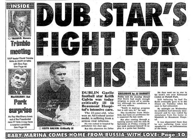 The front page of the Evening Herald reporting Keith Galvin's illness.