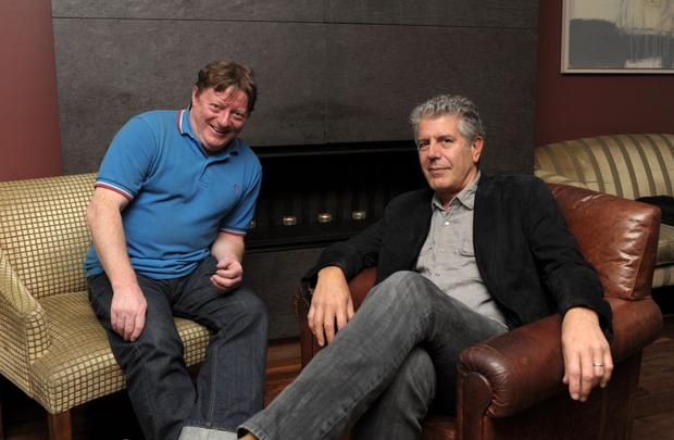 Anthony Bourdain and Herald writer George Byrne, Digges Lane, Dublin in August 2010