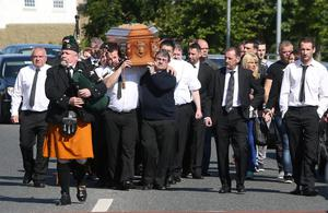 The coffin is carried to The Church of the Immaculate Heart of Mary, Rowlagh for the funeral mass of Keith Walker. Picture credit; Damien Eagers 19/6/2015