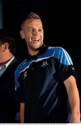 23 September 2013; Dublin's Jonny Cooper during the homecoming celebrations of the All-Ireland Senior Football Champions. Merrion Square, Dublin. Picture credit: David Maher / SPORTSFILE