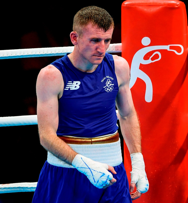 Paddy Barnes reacts to his defeat by Samuel Carmona Heredia. Photo by Stephen McCarthy/Sportsfile