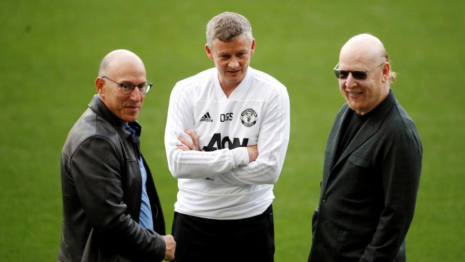 Manchester United manager Ole Gunnar Solskjaer and co-owners Joel Glazer and Avram Glazer during training.   Action Images via Reuters/Carl Recine/File Photo