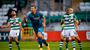 Zlatan Ibrahimovic of AC Milan celebrates after scoring his side's first goal in the Europa League win over Shamrock Rovers at Tallaght Stadium last week. Photo by Seb Daly/Sportsfile