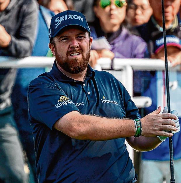 Shane Lowry tees off during the final round of the Hong Kong Open Getty. Photo: Philip Fong/AFP via Getty Images