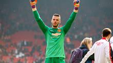 Manchester United's David de Gea celebrates after the final whistle during the Barclays Premier League match at Anfield, Liverpool (Peter Byrne/PA Wire)