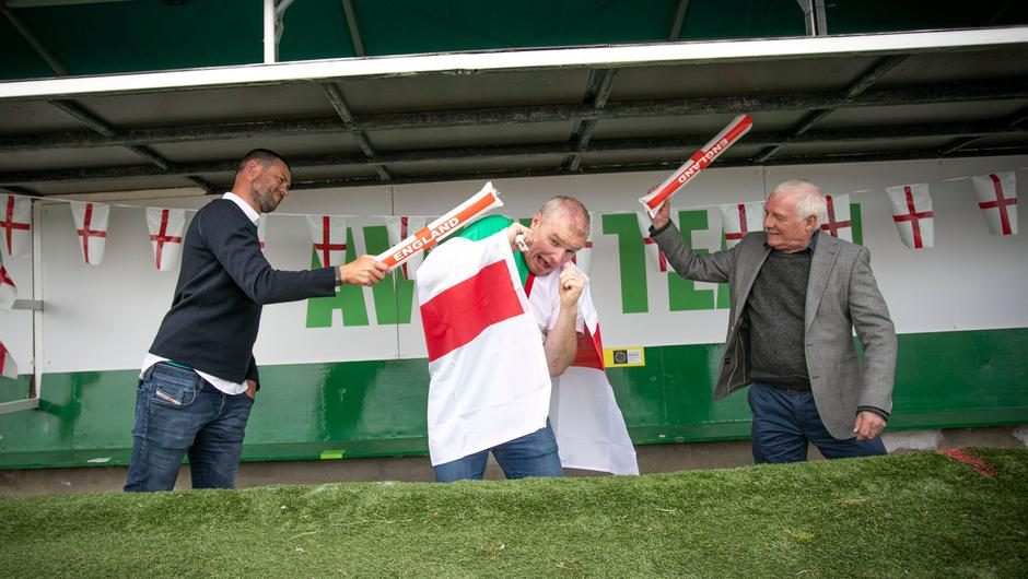 Legendary pundit Eamon Dunphy and former Ireland International Damien Delaney joined bookie Paddy Power to call on fans to get behind England at the Euros as part of their #SaveOurGame campaign