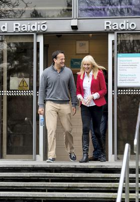 """18/01/2015. Pictured is Minister for Health Leo Varadkar with Miriam O'Callaghan leaving RTE studios where he told Miriam O'Callaghan he was a """"gay man"""" and it was """"no secret"""". Photo: El Keegan"""