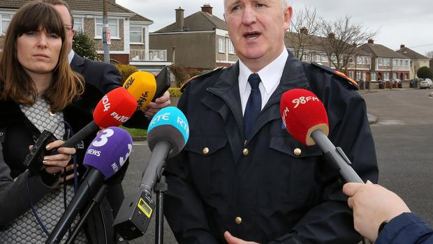 Garda Supt Gerard Donnolly from Coolock Garda Station pictured making an appeal for witness and information  at the scene of a fatal  hit and run on Hazelwood Drive, Kilmore, Coolock. Picture: Frank Mc Grath
