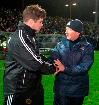 Kerry manager Eamonn Fitzmaurice and Dublin manager Jim Gavin exchange a handshake after the match. Photo: Diarmuid Greene/Sportsfile