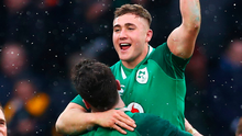 James Ryan celebrates victory with Jordan Larmour. Photo: Getty Images