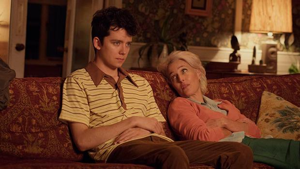SEX TIPS: Asa Butterfield and Gillian Anderson in 'Sex Education', a new series on Netflix